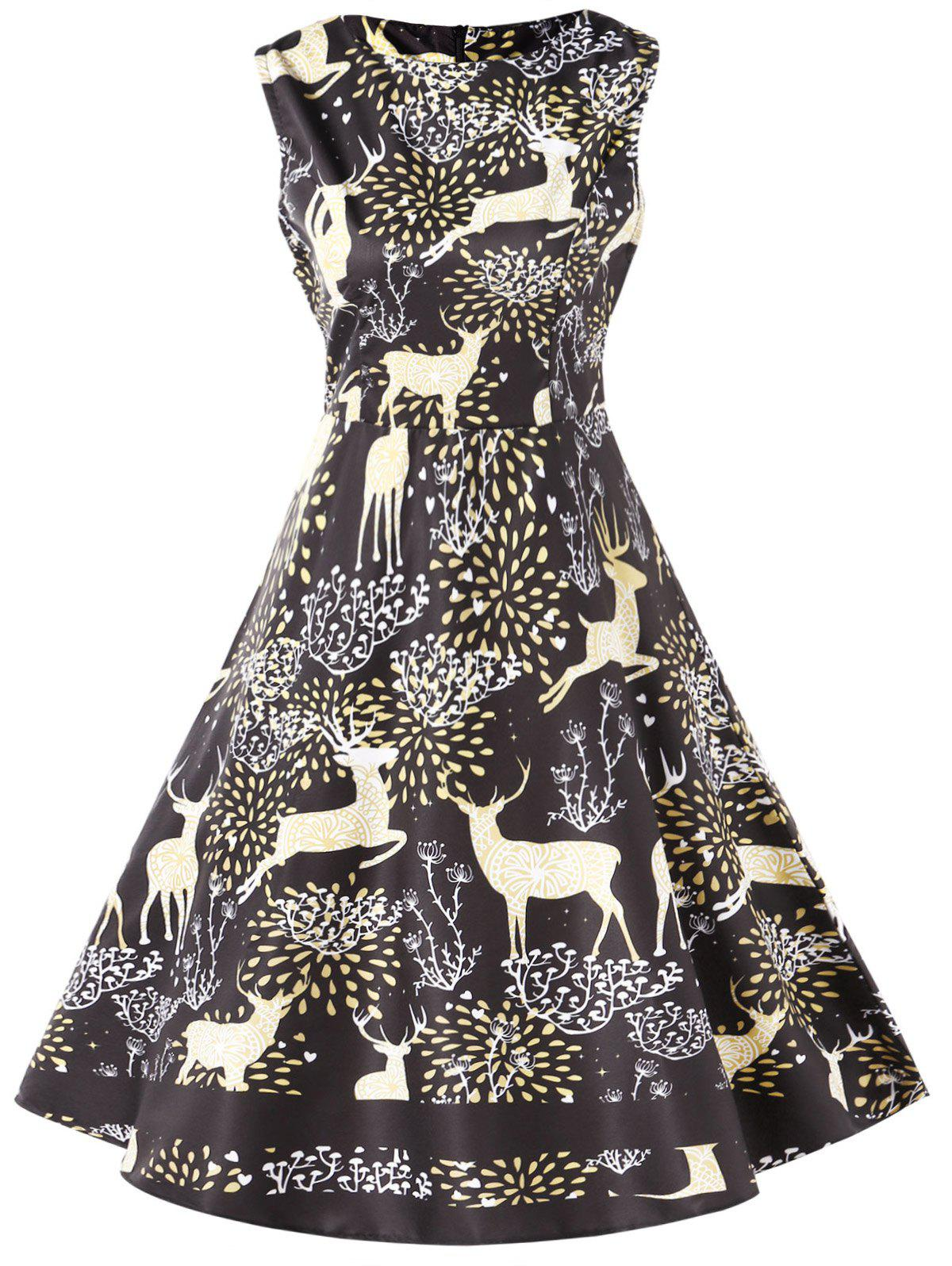Christmas Elk Print Vintage Dress - BLACK XL