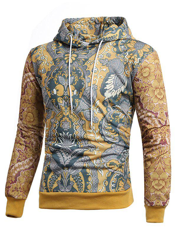 Vintage Allover Printed Pullover Hoodie - multicolor 2XL