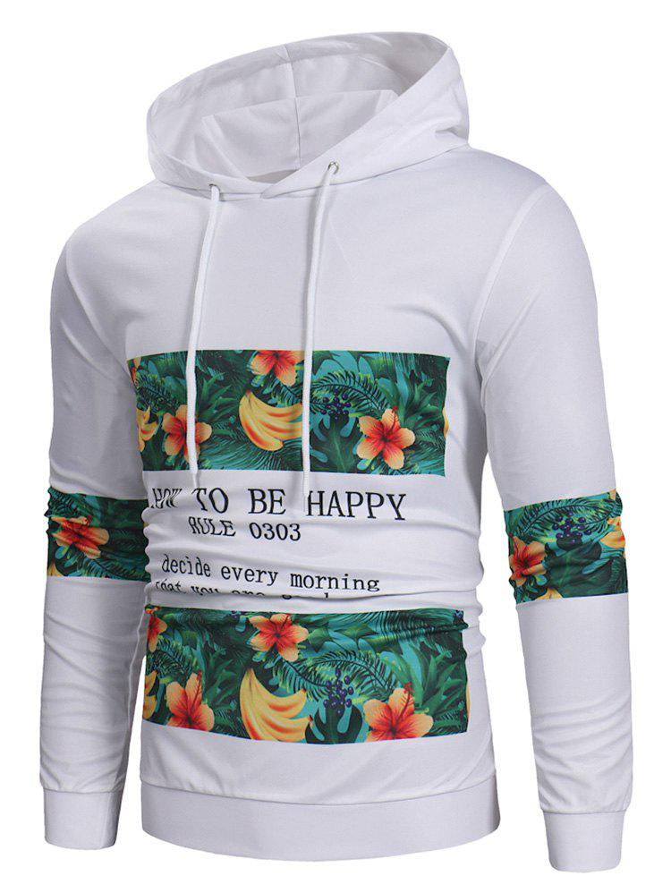 Fruit Letter Printed Pullover Hoodie - WHITE 3XL