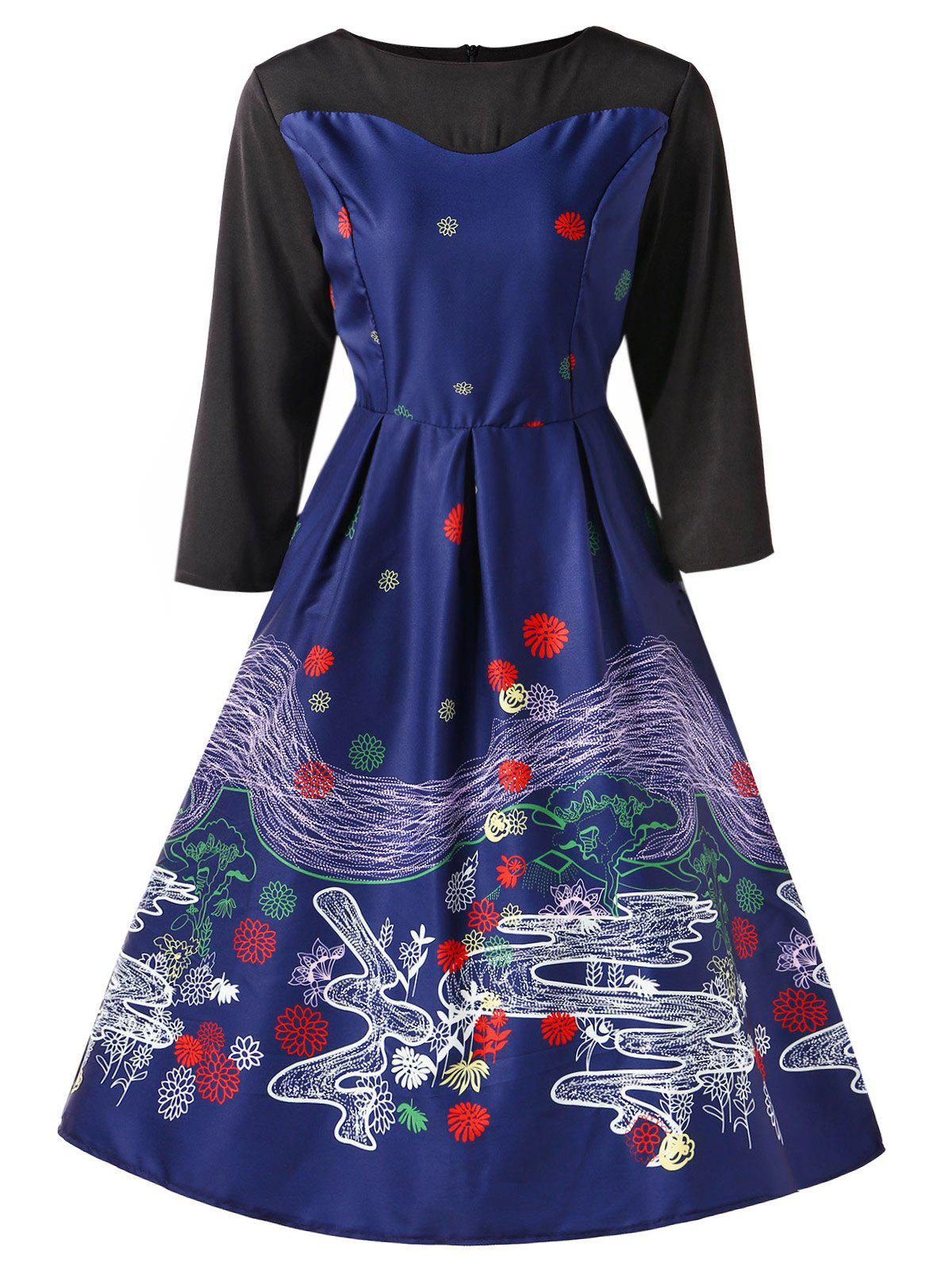 Retro Printed Fit and Flare Dress - DEEP BLUE L