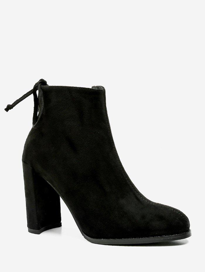 High Heel Tie Back Ankle Boots - BLACK EU 37