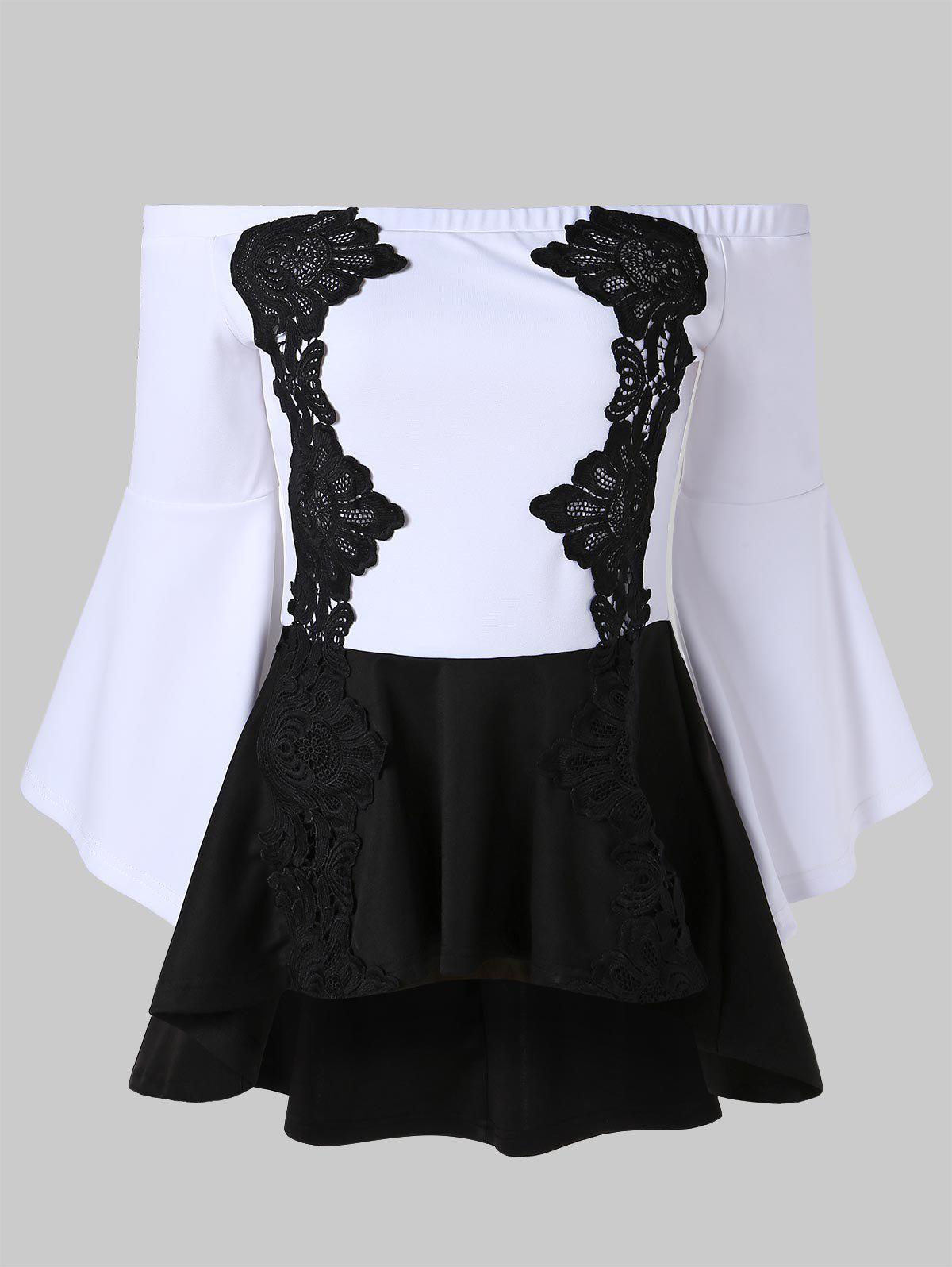 Lace Panel High Low Peplum Top