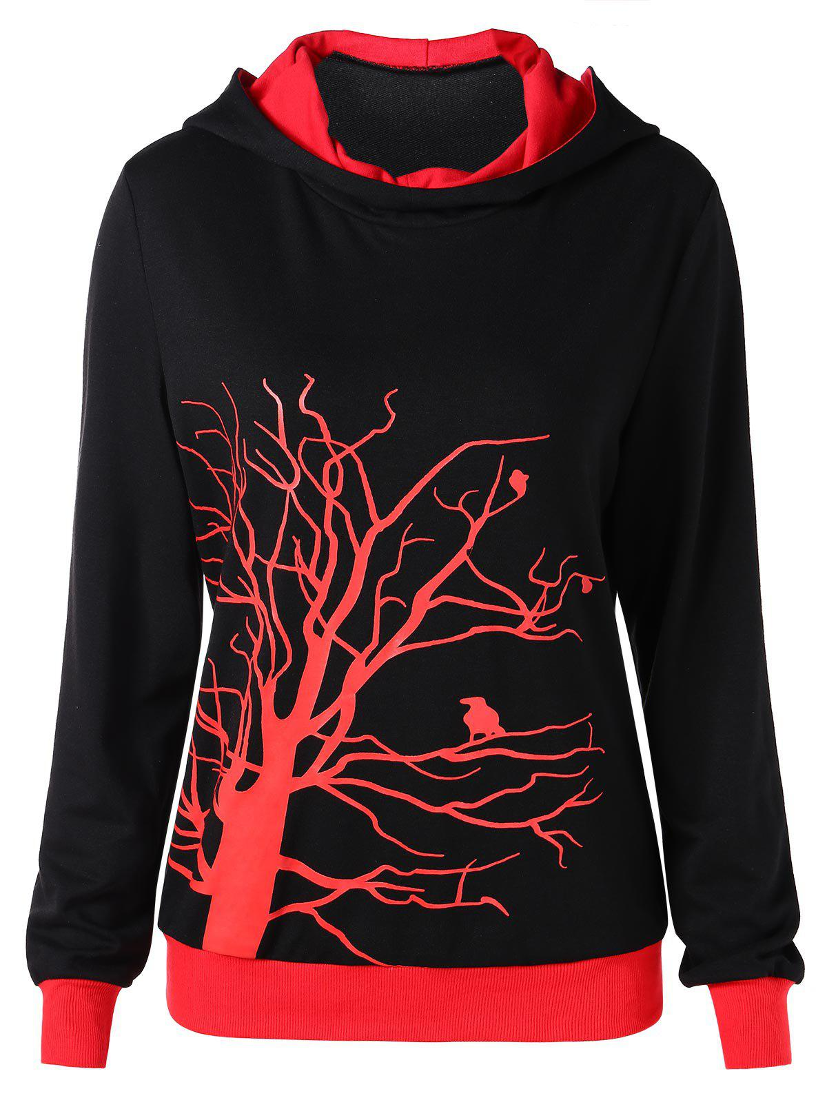 Tree Print Hit Color Hoodie - BLACK XL