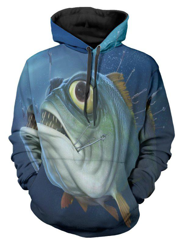 Sweat à capuche imprimé poisson - multicolor 2XL