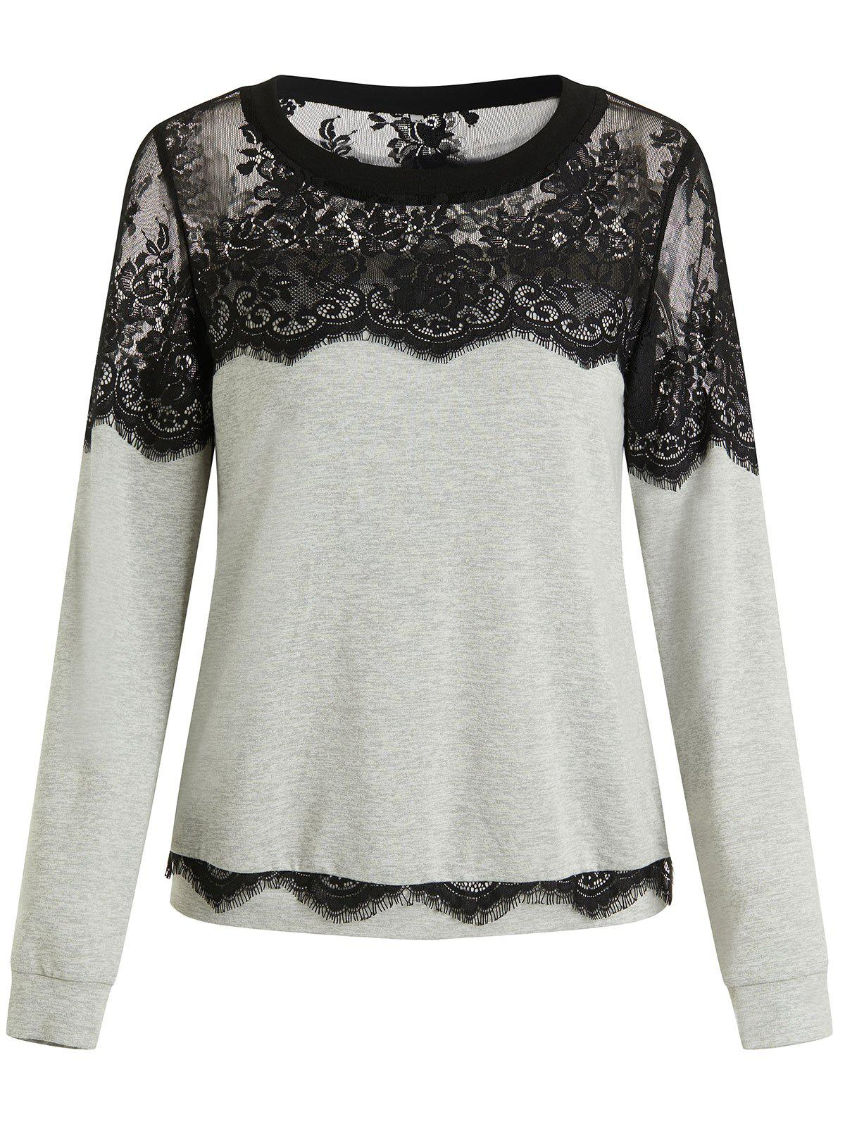 Lace Flower Spliced Sweatshirt