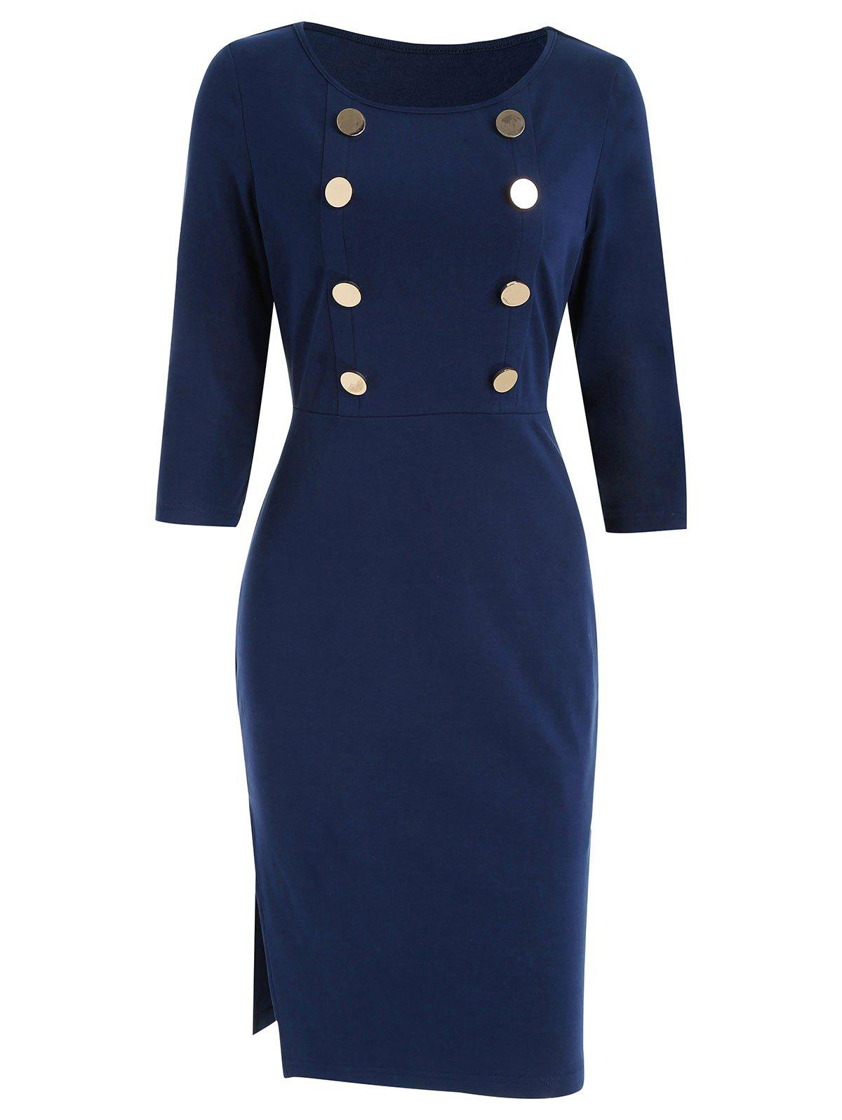 Buttons Front Slim Dress