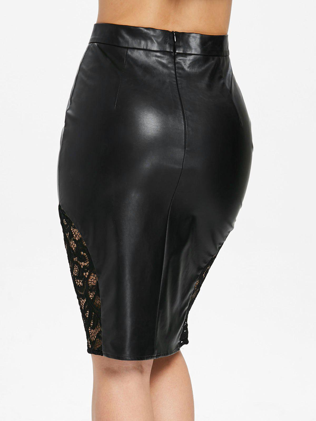 Openwork Lace Panel PU Leather Skirt -