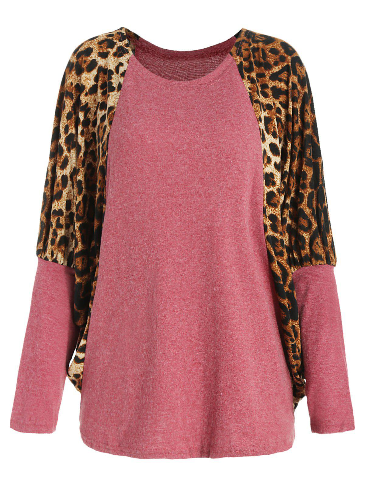 Scoop Neck Color Splicing Leopard Print Long Sleeves Loose-Fitting Women's Sweater - RED ONE SIZE