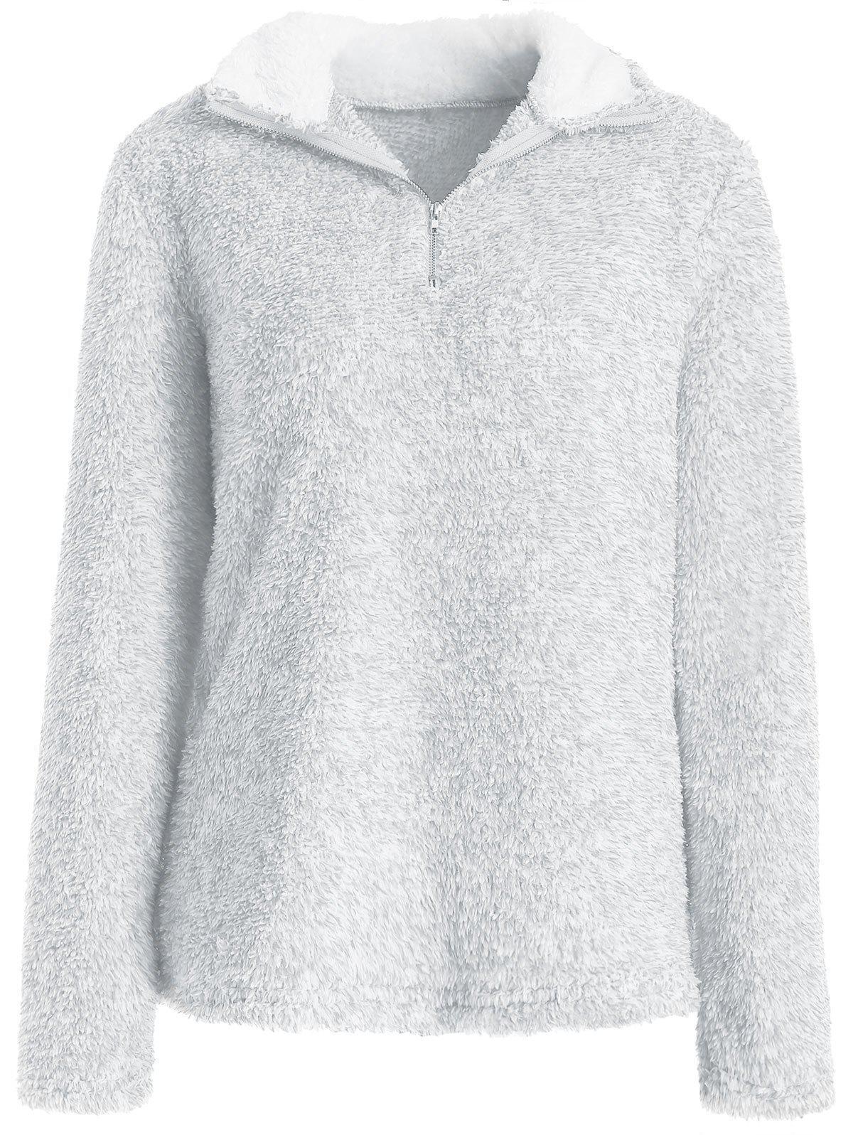 Half Zip Fluffy Sweatshirt - PLATINUM S