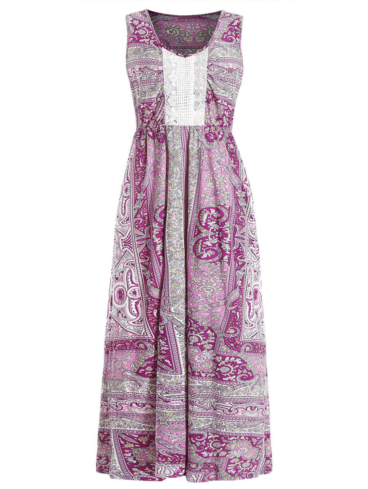 Bohemian Print Maxi Dress - multicolor M