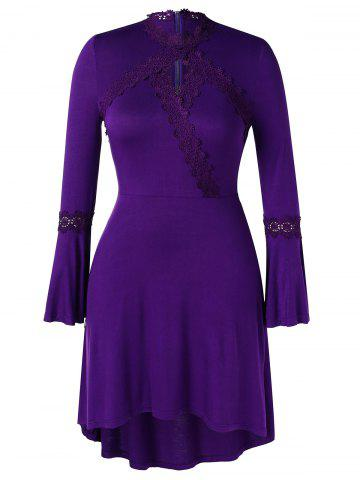 Plus Size Lace Spliced Bell Sleeves High Low Dress