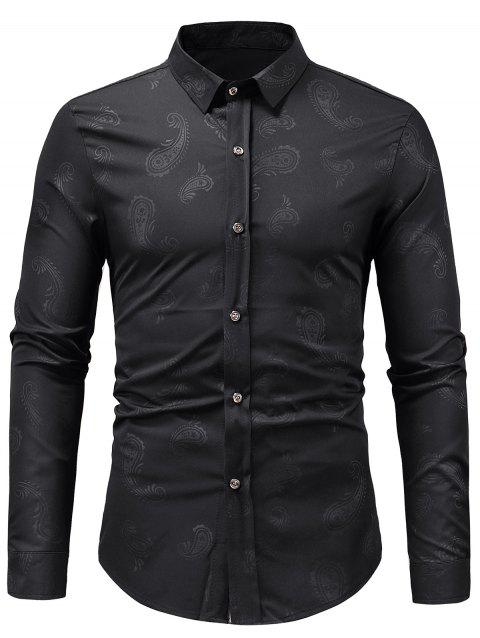 Casual Paisley Print Button Up Shirt - BLACK S