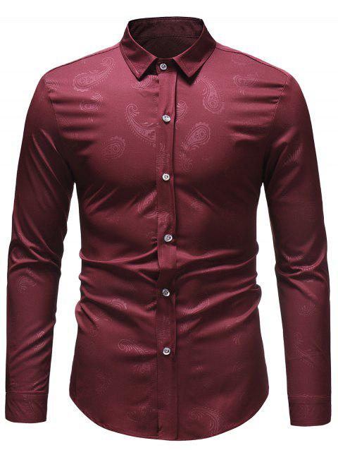 Casual Paisley Print Button Up Shirt - RED WINE XL