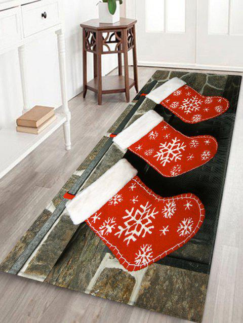 Snowflake Christmas Socks Printed Floor Mat - ROSSO RED W16 X L47 INCH
