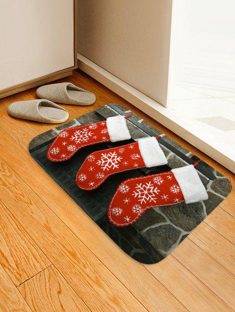 Snowflake Christmas Socks Printed Floor Mat - ROSSO RED W20 X L31.5 INCH