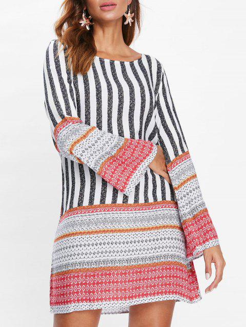 Long Sleeve Print Tunic Dress - multicolor M