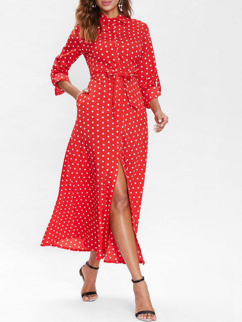 Polka Dot Belted Long Shirt Dress - RED M