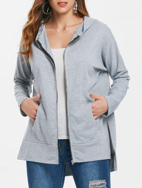 Asymmetrical Zip Up Longline Hoodie - LIGHT GRAY L