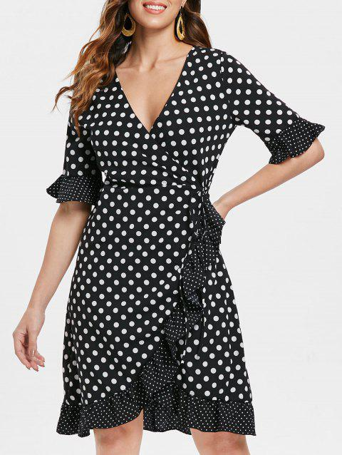 Deep V neck Polka Dot Wrap Dress - BLACK S