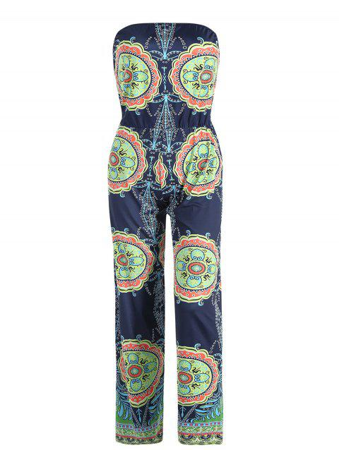 5441f7ecebf7 Stylish Strapless Sleeveless Loose-Fitting Printed Women s Exuma Preppy  Jumpsuit - BLUE L
