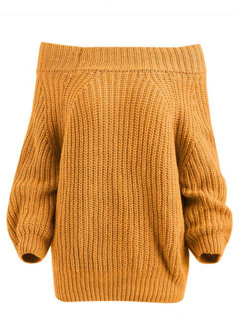 Chunky Off The Shoulder Pullover Sweater - YELLOW ONE SIZE