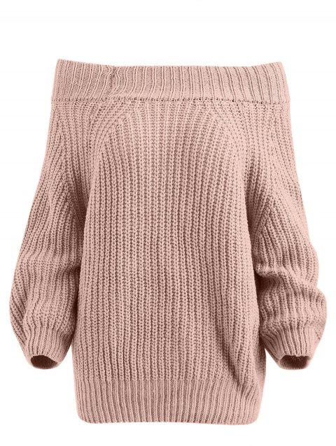 Chunky Off The Shoulder Pullover Sweater - PINK ONE SIZE