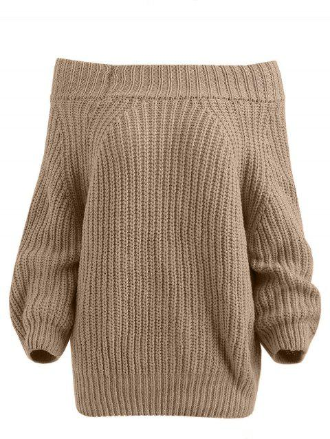 Chunky Off The Shoulder Pullover Sweater - DARK KHAKI ONE SIZE