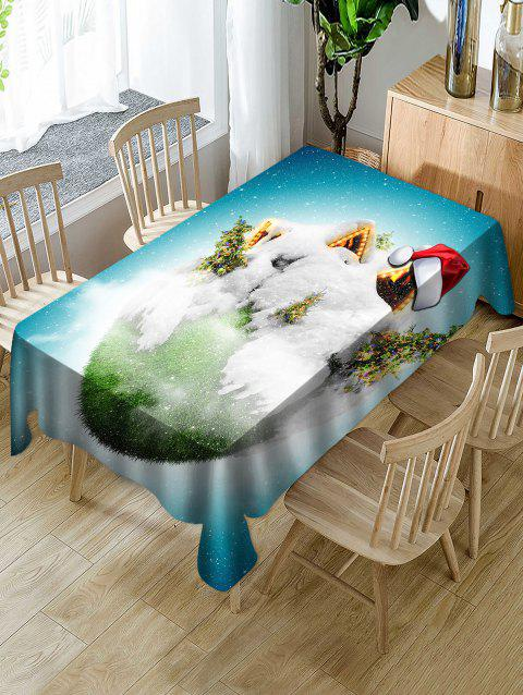 Christmas Earth Print Waterproof Tablecloth - multicolor W54 X L72 INCH