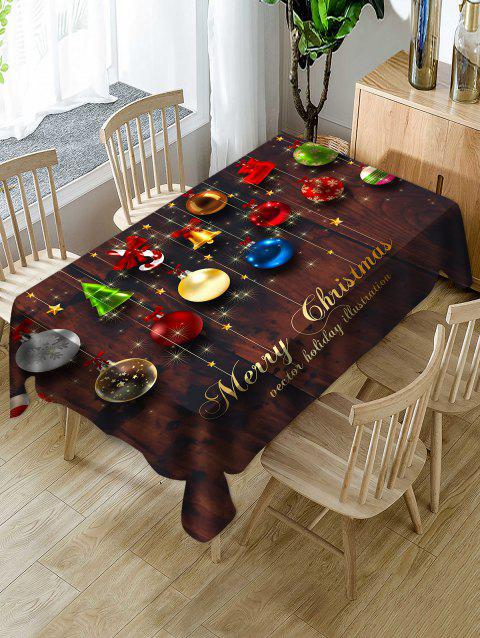 Christmas Hanging Balls Print Waterproof Tablecloth - multicolor W54 X L72 INCH