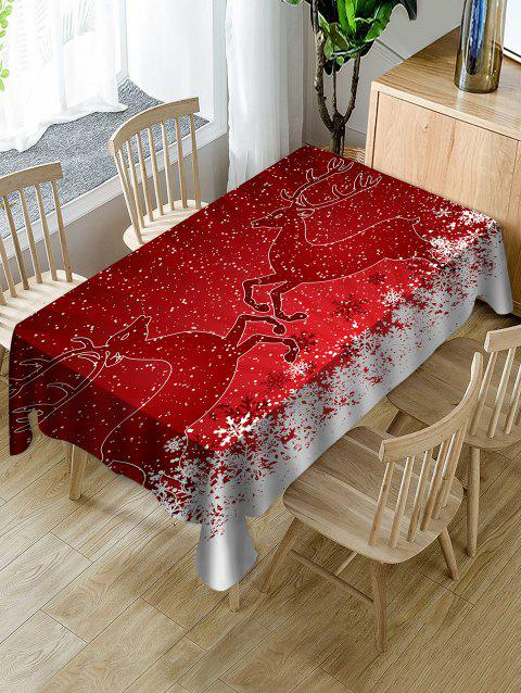 Christmas Deer Print Waterproof Tablecloth - RED W54 X L72 INCH