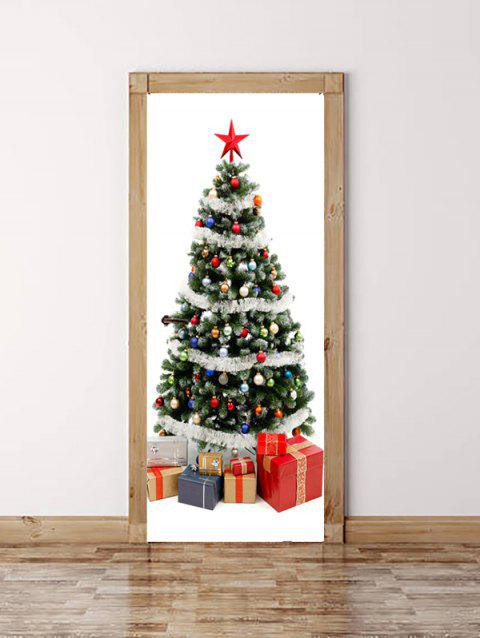 Christmas Tree Gift Print Door Stickers - WHITE 2PCS X 15 X 79 INCH