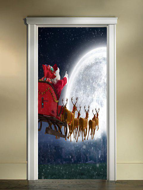 Christmas Moon Deer Sleigh Print Door Cover Stickers - multicolor 2PCS X 18 X 79 INCH