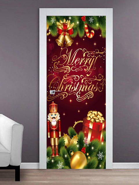 Merry Christmas King Print Door Stickers - multicolor 2PCS X 18 X 79 INCH