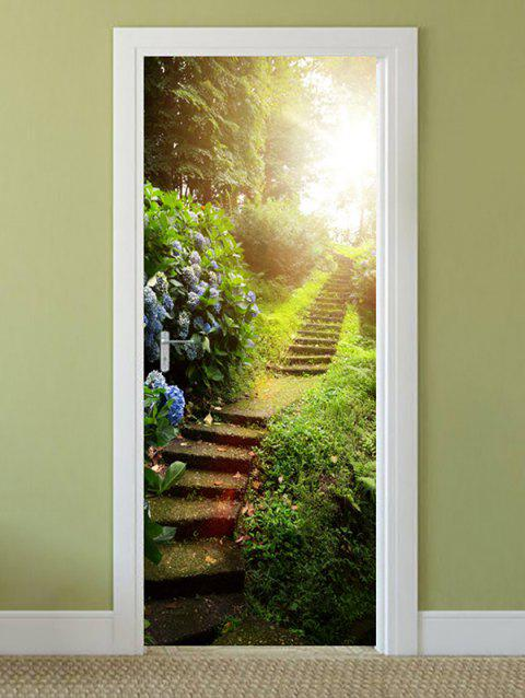 Forest Stairs Print Door Stickers - GREEN ONION 2PCS X 18 X 79 INCH