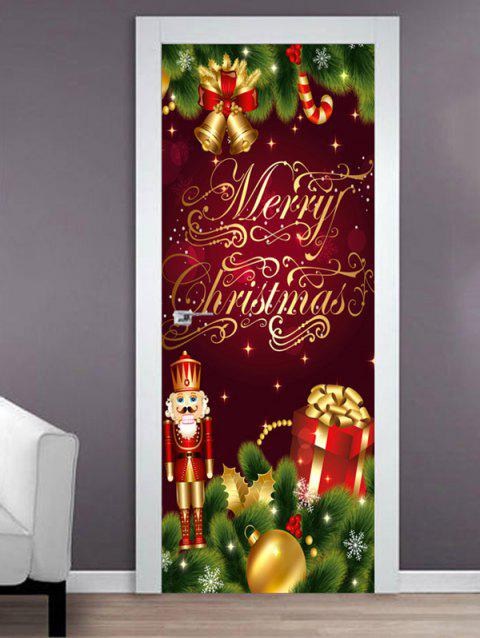 Merry Christmas King Print Door Stickers - multicolor 2PCS X 15 X 79 INCH