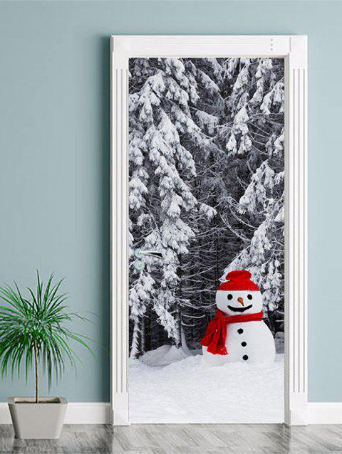 Christmas Snowman Forest Print Door Stickers - WHITE 2PCS X 18 X 79 INCH