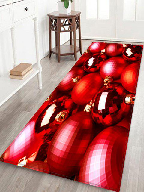 Christmas Decor Baubles Printed Area Mat - RUBY RED W24 X L71 INCH