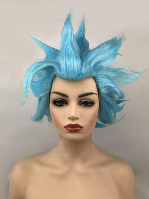 Short Tail Upwards Straight Anime Cosplay Synthetic Wig - DEEP SKY BLUE