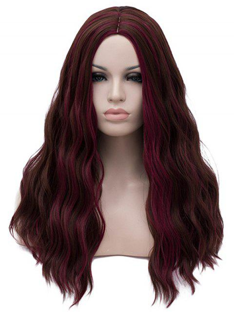 Middle Part Long Highlight Wavy Party Synthetic Wig - FIREBRICK