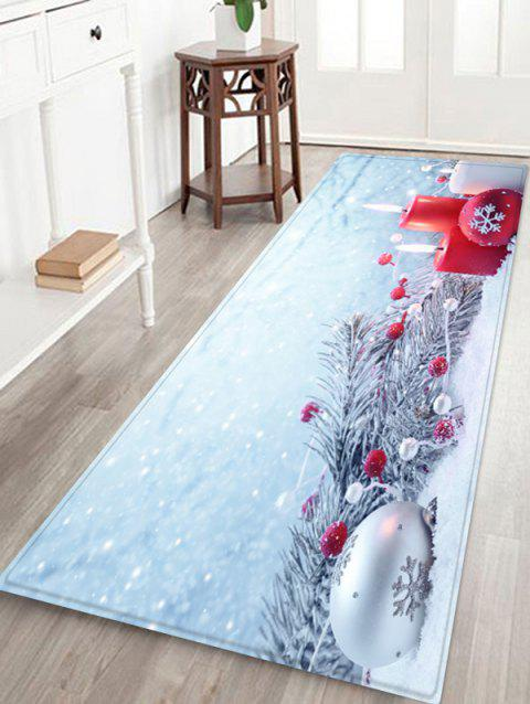 Christmas Tree Branches Candles and Balls Printed Floor Mat - SEA BLUE W16 X L47 INCH