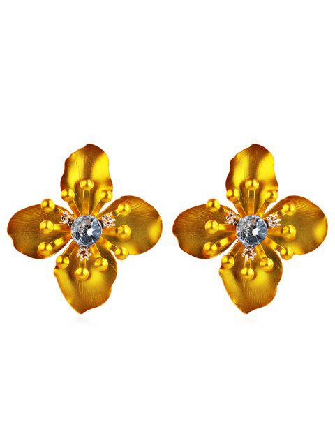 Stylish Rhinestone Floral Stud Earrings - GOLDEN BROWN
