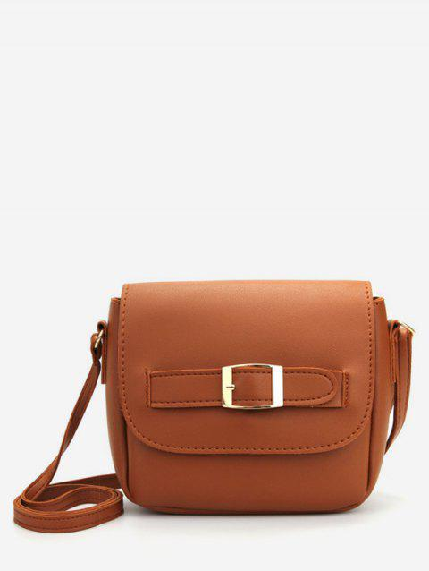 Buckle Solid Color Crossbody Bag - BROWN