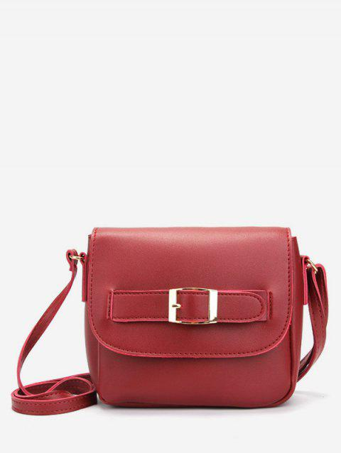 Buckle Solid Color Crossbody Bag - RED