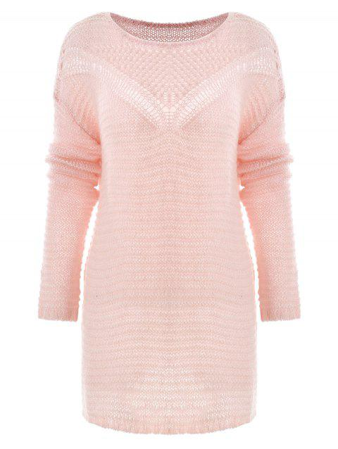 Hollow Out Knit Sweater - SAKURA PINK XL