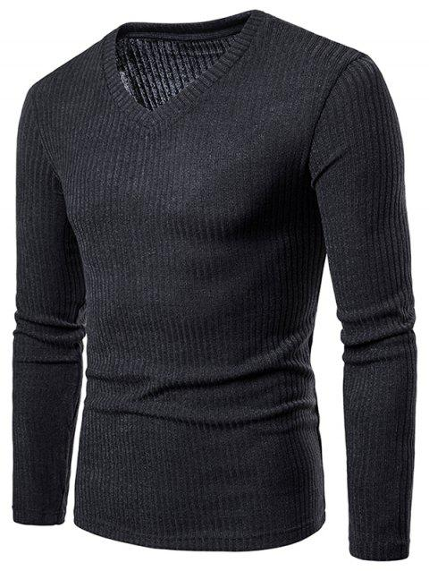 V Neck Solid Color Long Sleeve Knitwear - DARK GRAY XL