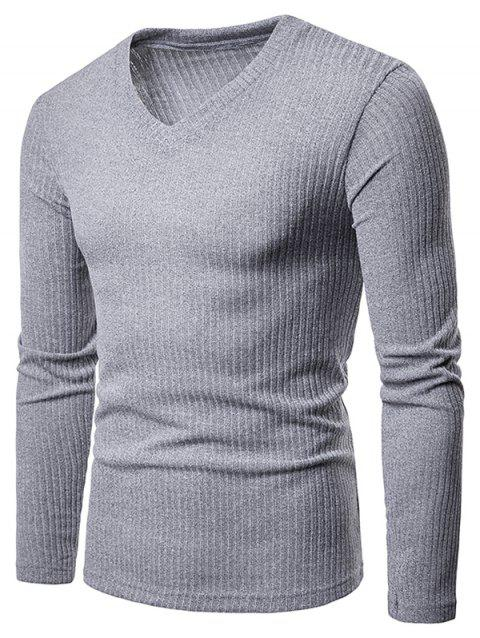 V Neck Solid Color Long Sleeve Knitwear - LIGHT GRAY M