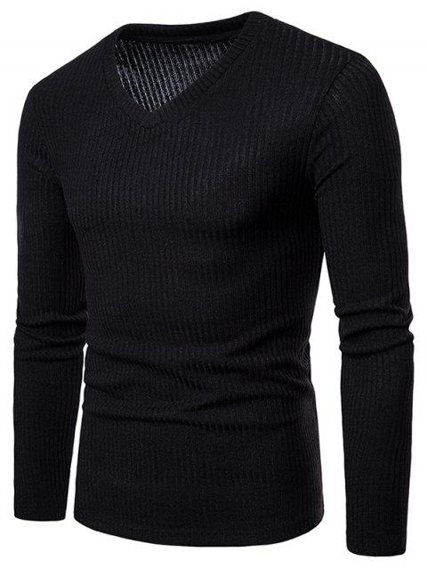 V Neck Solid Color Long Sleeve Knitwear - BLACK M