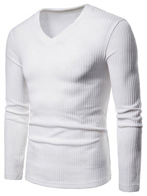V Neck Solid Color Long Sleeve Knitwear - WHITE L