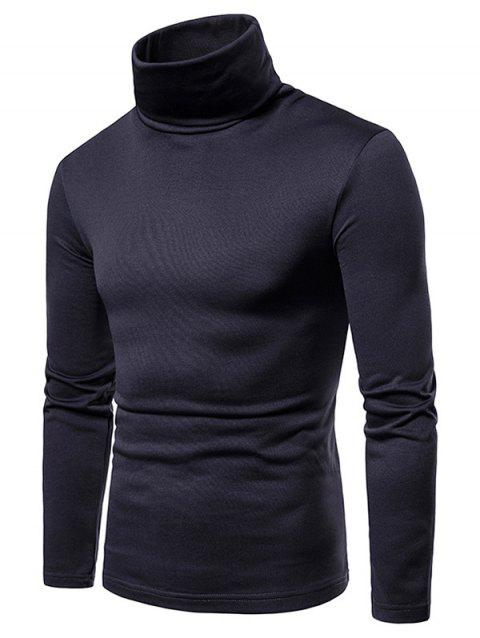 Turtle Neck Whole Colored Tee Shirt - MIDNIGHT BLUE L