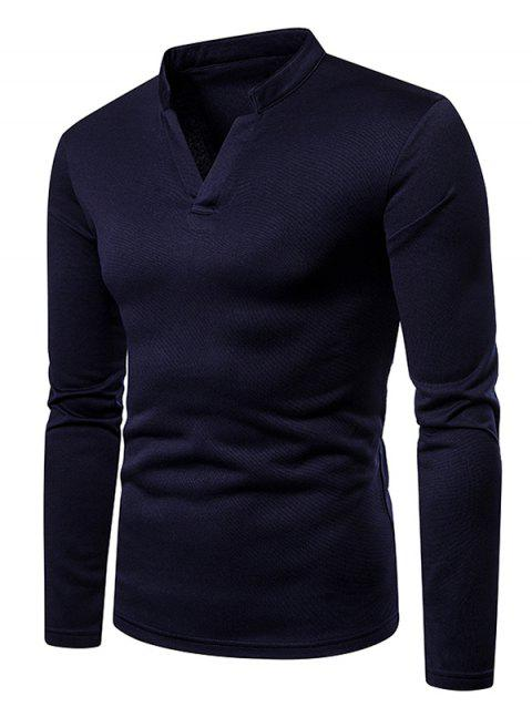 Long Sleeves V Neck Solid Color Fleece T-shirt - CADETBLUE M